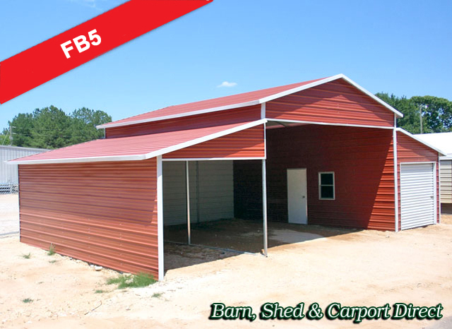 Large Metal Farm Building w/UtilityArea : 40' x 26' x 12'/8'