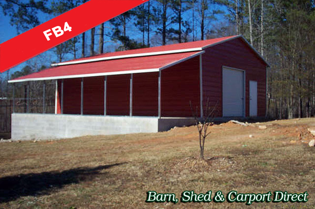 Metal Farm Storage Building with Lean To : 34' x 36' x 10'/6'