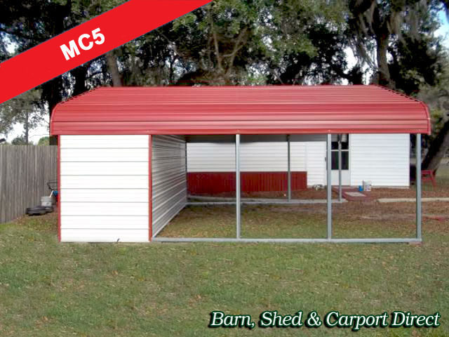 Standard Metal Carport with Storage : 18' x 21' x 6'