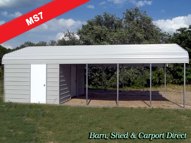Small Storage Shed with Carport 18 39 x 31 39 x 7 39 MS7 Barn Shed