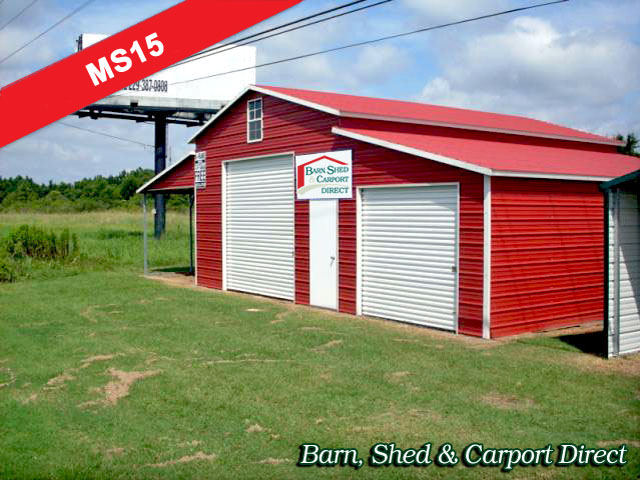Two Car Enclosed Metal Work Shed Combo : 44' x 21' x 8'/12'