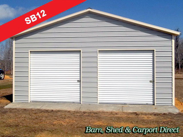 Large Two Car Metal Storage Building : 24' x 26' x 10'