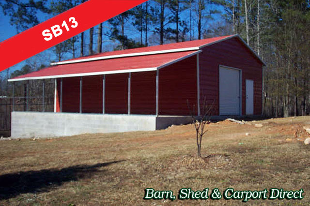 Large Metal Farm Storage Building : 34' x 36' x 10'/6'